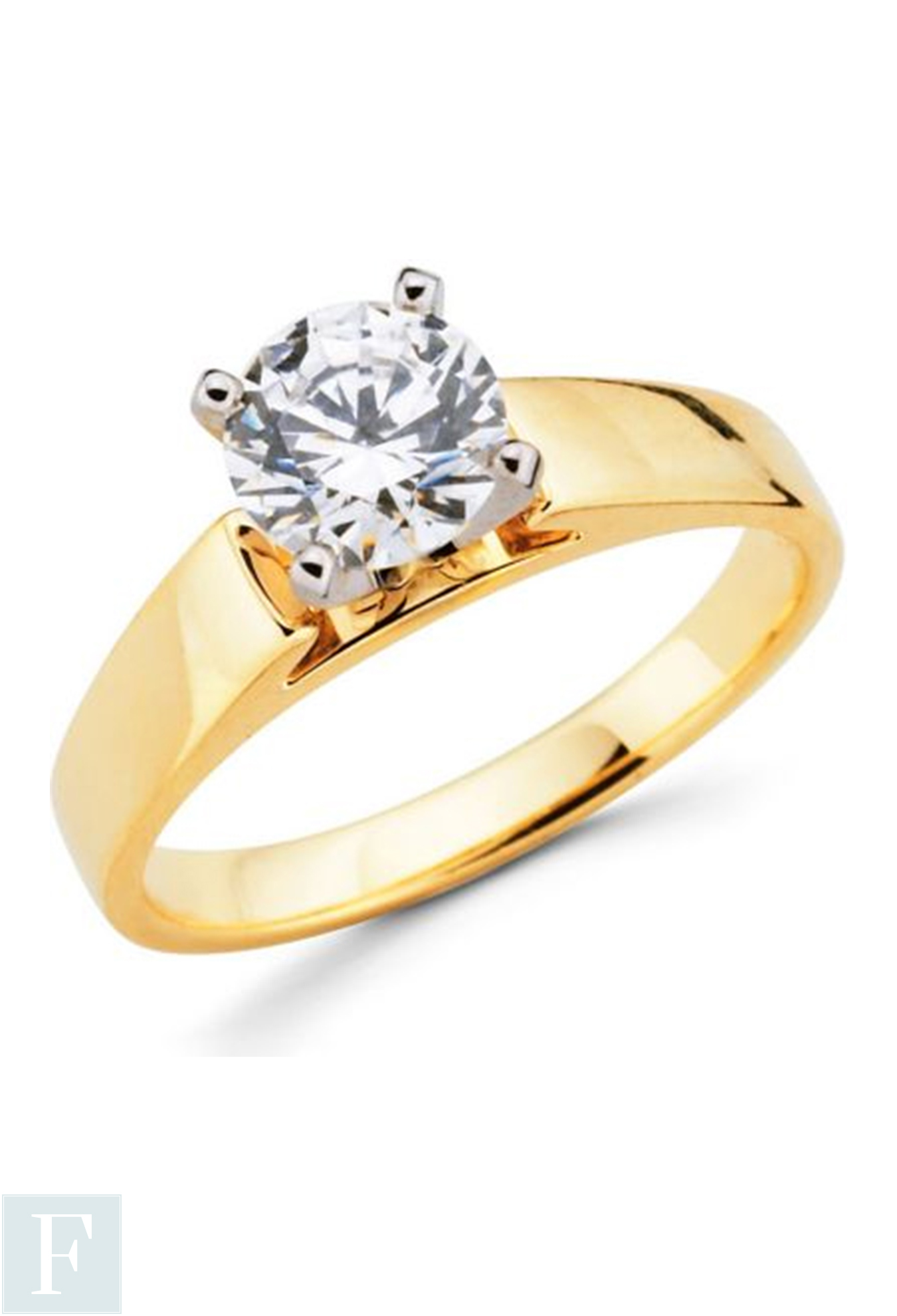 ROUND CUT 4mm Wide Band Diamond Solitaire Engagement Ring 14K GOLD